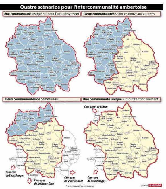 les 4 propositions (cartographie La Montagne)