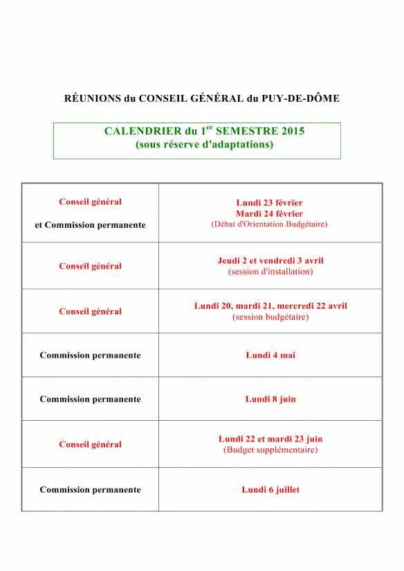 calendrier 1er semestre 2015