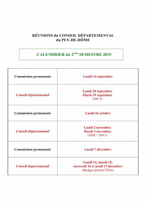 Calendrier 2eme semestre 2015