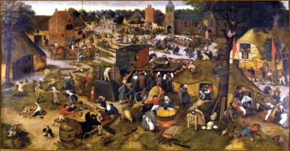 Brueghel le jeune : la Kermesse villageoise - ici le tableau du musée Calvet d'Avignon